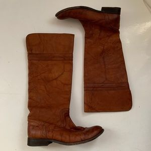 Frye Melissa Trapunto Cognac Leather Riding Boots